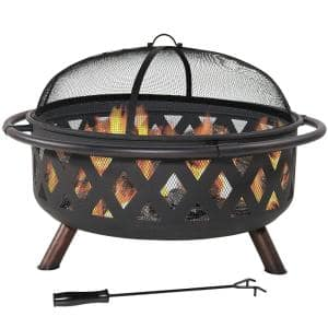 Black Cross Weave 36 in. x 24 in. Round Steel Wood Burning Fire Pit with Spark Screen
