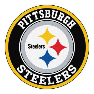 NFL Pittsburgh Steelers Black 2 ft. Round Area Rug