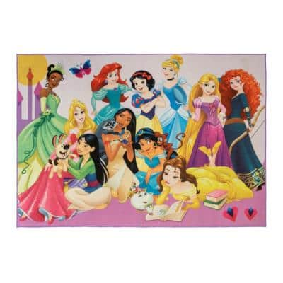 Princess Party Multi-Colored 5 ft. x 7 ft. Indoor Juvenile Area Rug