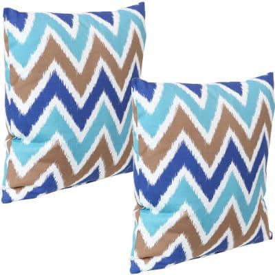 17 in. Light Blue Chevron Bliss Square Outdoor Throw Pillow Covers (Set of 2)