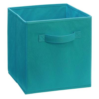 11 in. D x 11 in. H x 11 in. W Ocean Blue  Fabric Cube Storage Bin