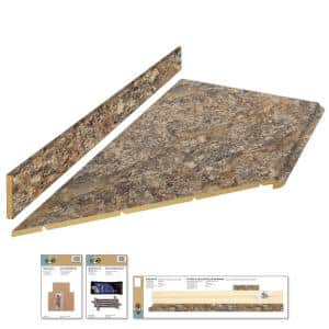 8 ft. Brown Laminate Countertop Kit With Left Miter and Full Wrap Ogee Edge in Winter Carnival Granite