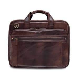 Arizona Collection Brown Leather Double Compartment Briefcase for 15.6 in. Laptop/Tablet