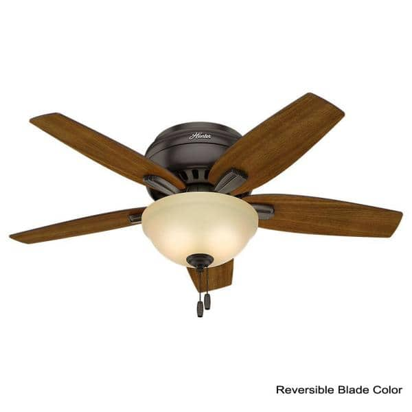 Hunter Newsome 42 In Indoor Low Profile Premier Bronze Ceiling Fan With Light Kit 51081 The Home Depot