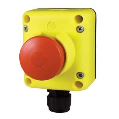 Emergency Stop Push Button Enclosure Featuring a Mushroom Type Button with Guard Push-Pull operation 1/EA