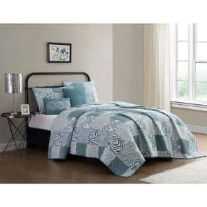 Ziva 5-Piece Teal/White Animal Printed Patchwork Queen Quilt Set