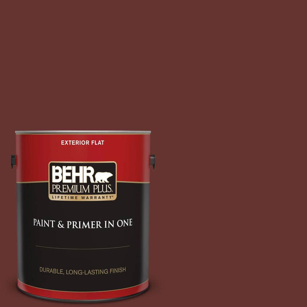 Behr Premium Plus 1 Gal Ppu2 01 Chipotle Paste Flat Exterior Paint And Primer In One 430001 The Home Depot