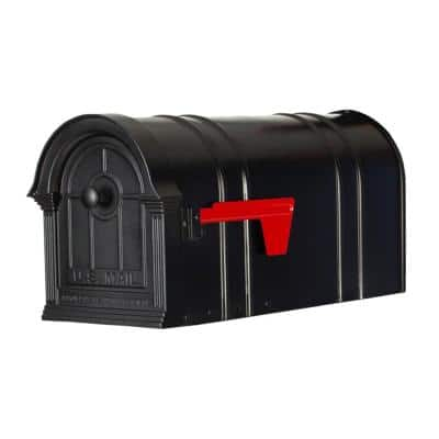 Manchester Black Steel and Aluminum Post Mount Mailbox
