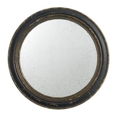 Medium Round Dark Brown Mirror (23.6 in. H x 23.6 in. W)
