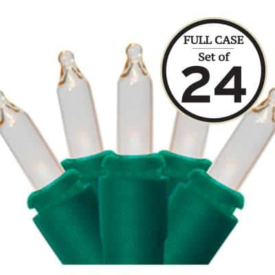 100-Light Clear with Green Wire String to String Mini Light Set (Set of 24)