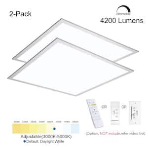 2 ft. x 2 ft. 4200LM400W EquivalentWhiteDimmable Color CCT Thin Aluminum Integrated LEDPanel Light Troffer (2-PK)