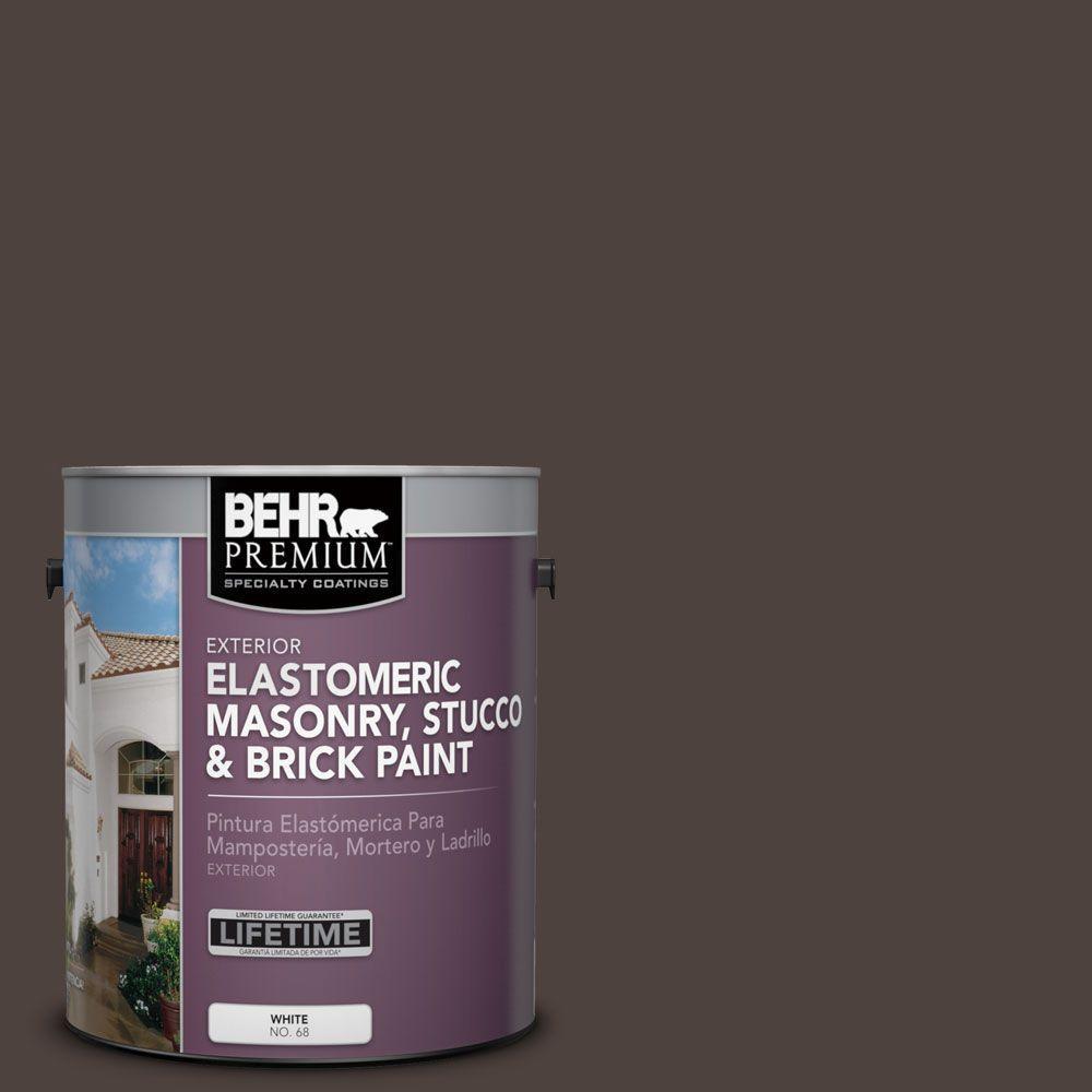 1 gal. #MS-90 Deep Chocolate Elastomeric Masonry, Stucco and Brick Exterior Paint