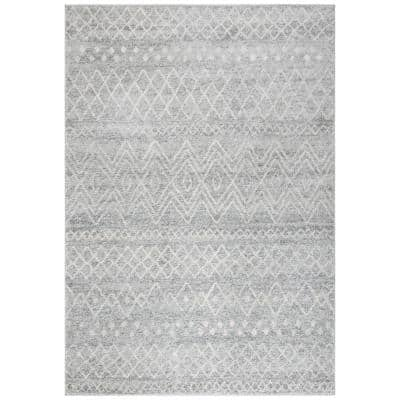 Madison Silver/Ivory 4 ft. x 6 ft. Tribal Distressed Area Rug