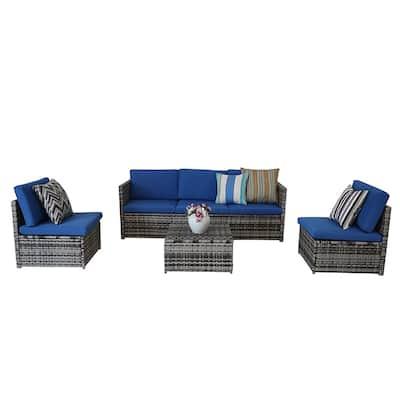 Blue Waterproof Patio Furniture, Corvus 8 Piece Grey Wicker Patio Furniture Set With Blue Cushions