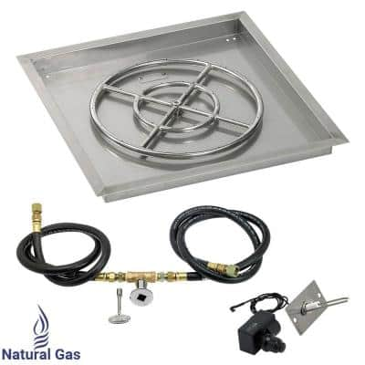 24 in. sq. Stainless Steel Drop-In Pan with Spark Ignition Kit (18 in. Fire Pit Ring) Natural Gas