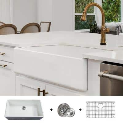 Luxury 36 in. Fine Fireclay Modern Farmhouse Kitchen Sink in White, Single Bowl, Includes Grid and Drain