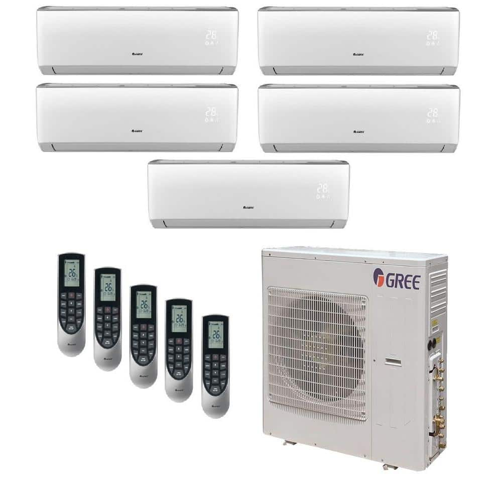 Gree Multi 21 Zone 39000 Btu Ductless Mini Split Air Conditioner With Heat Inverter And Remote 230 Volt 60hz Multi42hp500 The Home Depot