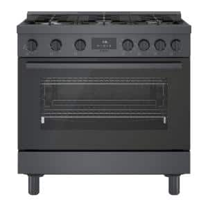 36 in. 3.7 cu. ft. Industrial Style Dual Fuel Range with 6-Burners in Black Stainless Steel