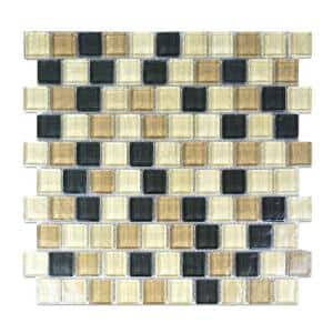 Geo Amazonia Beige Square Mosaic 1 in. x 1 in. Textured Glass Wall & Pool Tile (10 Sq. Ft./Case)