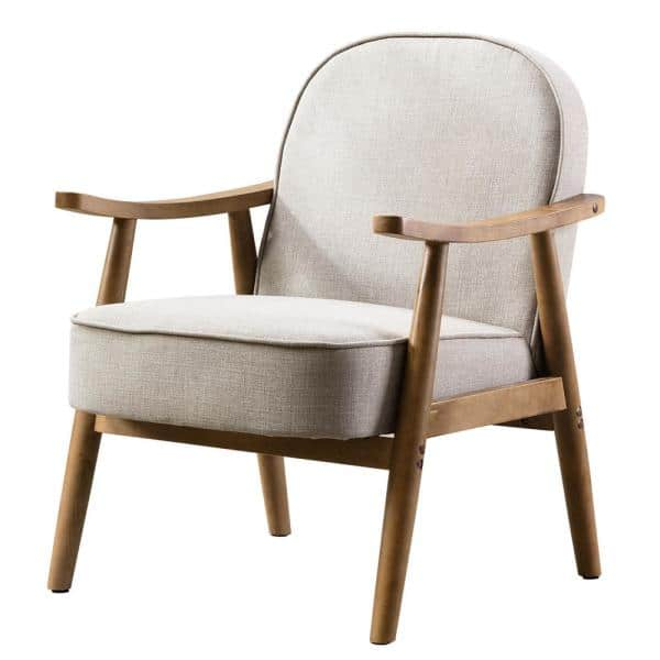 Kinwell Beige Modern Upholstered Solid, Lounge Chairs With Wooden Arms
