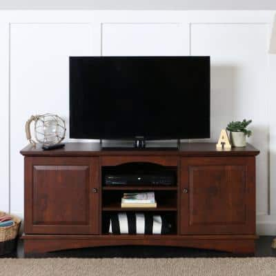 Jamestown 57 in. Traditional Brown Composite TV Stand 60 in. with Doors