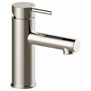 5 in Modern Single Hole Single-Handle Bathroom Faucet including Pop-up drain in Brushed Nickel