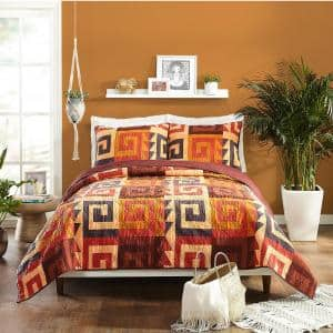 Makers Collective Kahelo Red Brown Full Queen Cotton Quilt Set 3 Piece By Justina Blakeney C561a17rdnds The Home Depot
