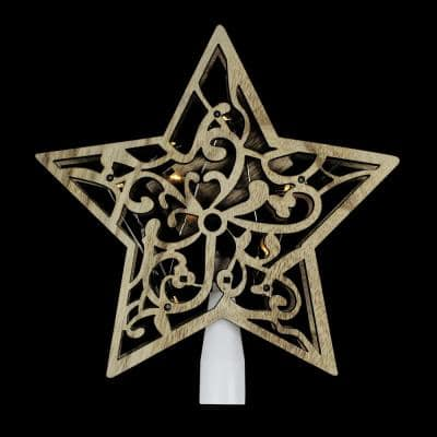 10 in. Lighted Battery Operated Wooden Star Christmas Tree Topper in Clear Lights