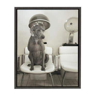 """Sylvie """"Ha Much Longa Cher"""" by Robin Bell Animal Framed Canvas Wall Art 24 in. x 18 in."""