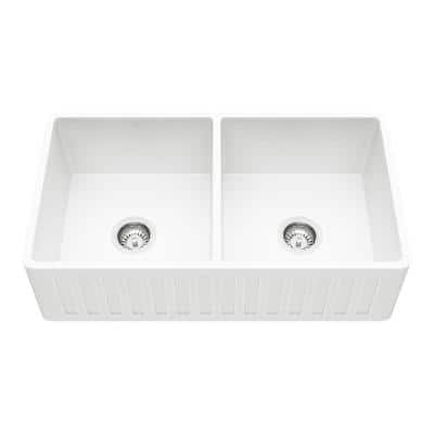 Matte Stone White Composite 33 in. Double Bowl Reversible Slotted Farmhouse Apron-Front Kitchen Sink with 2 Strainers