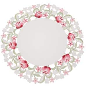 Lush Rosette 16 in. Embroidered Cutwork Round Placemats (Set of 4)