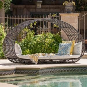 Vaughn Multibrown Wicker Outdoor Day Bed with White Cushions