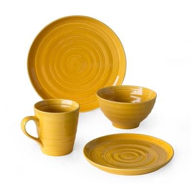 Loop 16-Piece Casual Yellow Earthenware Dinnerware Set (Service for 4)