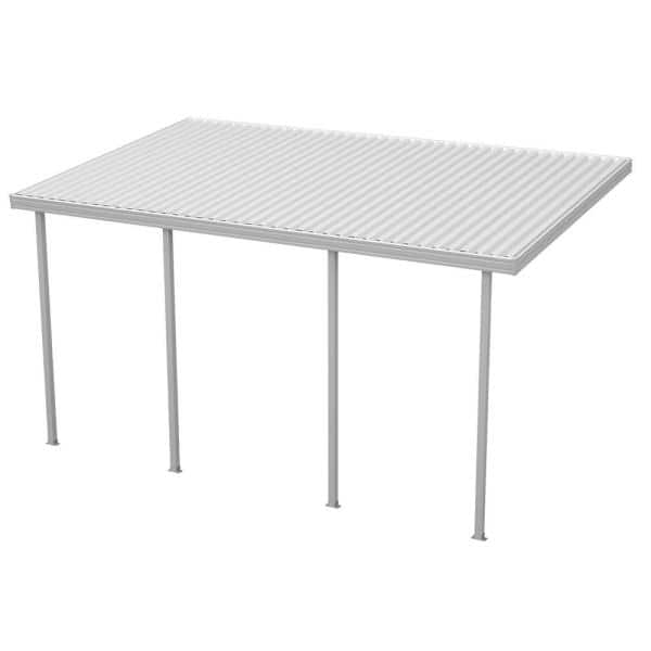 Integra 20 Ft W X 12 Ft D White Aluminum Attached Carport With 4 Posts 20 Lbs Roof Load 1282006701220 The Home Depot