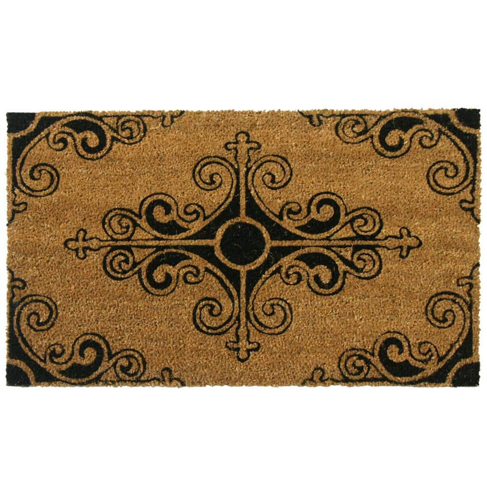 Rubber Cal Traditional Fleur De Lis 24 In X 57 In French Mat 10 106 013 The Home Depot