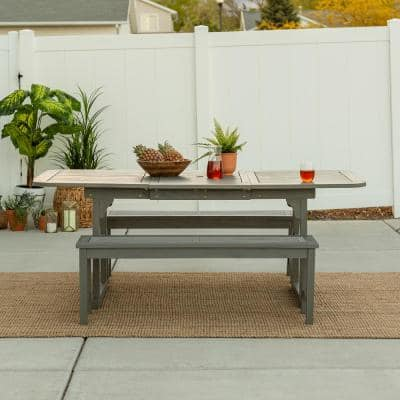 Grey Wash 3-Piece Extendable Wood Outdoor Patio Dining Set