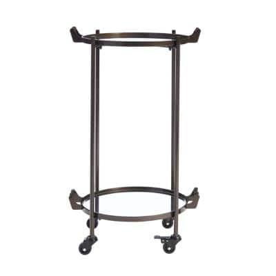 Oil Rubbed Bronze Metal Rolling Bar Cart with Mirrored Tray Shelves (20 in. W x 33 in. H)