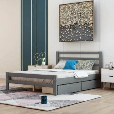 Gray Full Wood Platform Bed with 2-Drawers