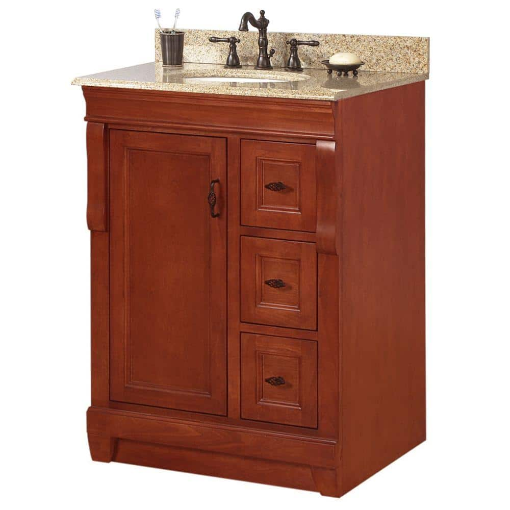 Home Decorators Collection Naples 25 In W X 22 In D Bath Vanity In Warm Cinnamon With Granite Vanity Top In Beige Nacabg2522 The Home Depot