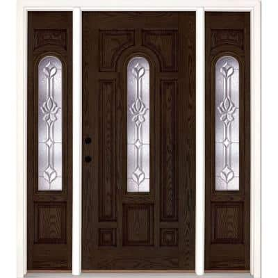 67.5 in.x81.625 in. Medina Zinc Center Arch Lt Stained Walnut Oak Right-Hand Fiberglass Prehung Front Door w/ Sidelites