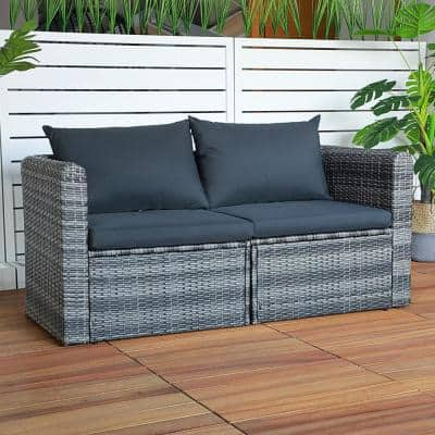 Joivi Grey 3-Piece Wicker Outdoor Loveseat with Dark Grey Cushions