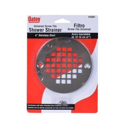4 in. Round Screw-In Stainless Steel Shower Drain Cover