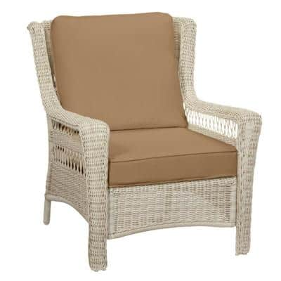 Park Meadows Off-White Wicker Outdoor Patio Lounge Chair with CushionGuard Toffee Tan Cushions
