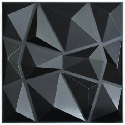 19.7 in. x 19.7 in. Diamond Black 3D PVC Wall Panels (12-Pack)
