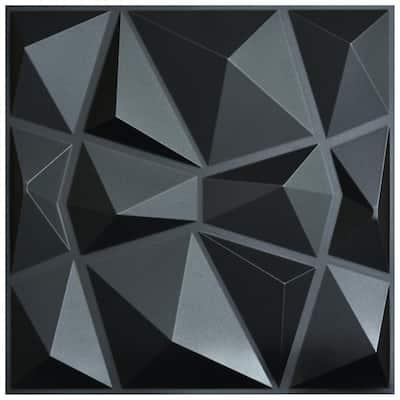 Diamond Black 3D PVC Wall Panels 19.7 in. x 19.7 in. (12-Pack)