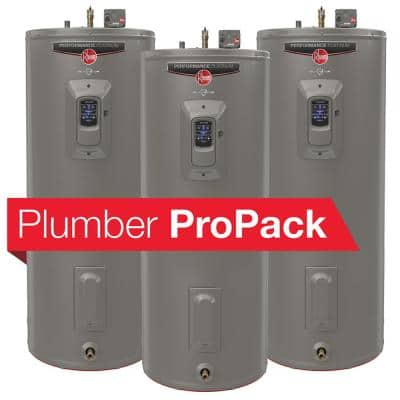 Gladiator 55 Gal. Tall 12 Year 4500/4500-Watt Electric Water Heater with Leak Detection + Auto Shutoff Plumber ProPack