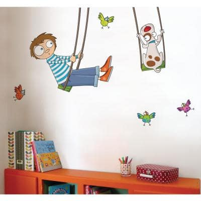 """(60.4 in x 37.6 in) Multi-Color """"Tom on a Swing"""" Kids Wall Decal"""