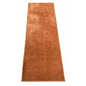 Euro Solid Burnt Orange 32 in. Width x Your Choice Length Custom Size Runner Rug