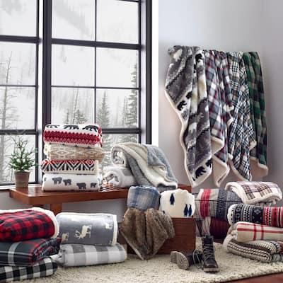 Ultra Plush Sherpa Reverse Throw Blanket