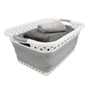White and Grey Collapsible Plastic Rectangle Laundry Basket (Set of 1)